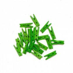 Мини декоративни щипчици 3х 26мм - светло зелени - 10 броя