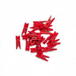 Дървени мини щипчици 3х26мм - червени - 10бр.