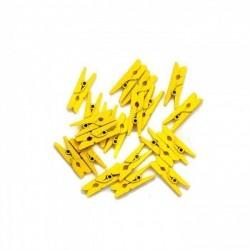 Мини дървени щипчици 3х26мм - жълти - 10 броя