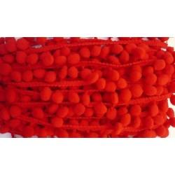 Висококачествена пом пом лента 20мм - червено - 1 метър