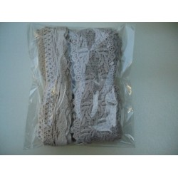 Комплект от 2 бр. памучни дантели - широчина около 3,5-4,5 см, дължина 3-4метра