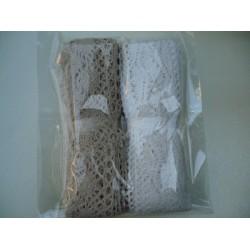 Комплект от 2 бр. памучни дантели - широчина около 3,5-4,5см, дължина 3-4метра